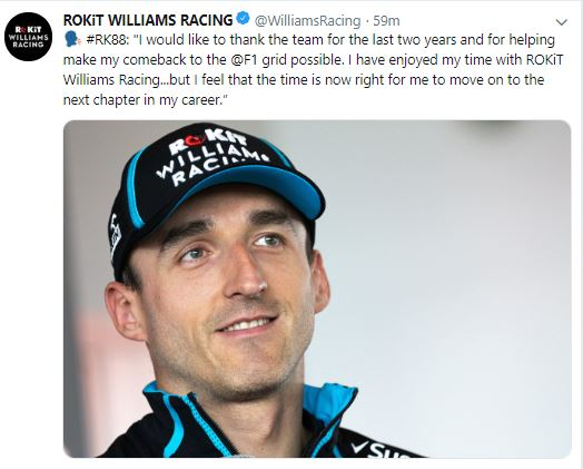 Kubica To Leave Williams at the End of 2019